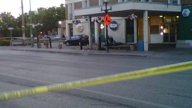 Police tape surrounds the scene of the stabbing near Ozzy's on Osborne Street.