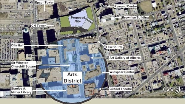 The Royal Alberta Museum is proposed for 103A Avenue and 99th Street in downtown Edmonton.
