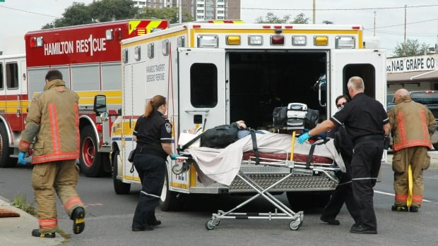 A motorcyclist was sent to hospital with leg injuries after a collision with a car Saturday morning at Park Street and Cannon Street.
