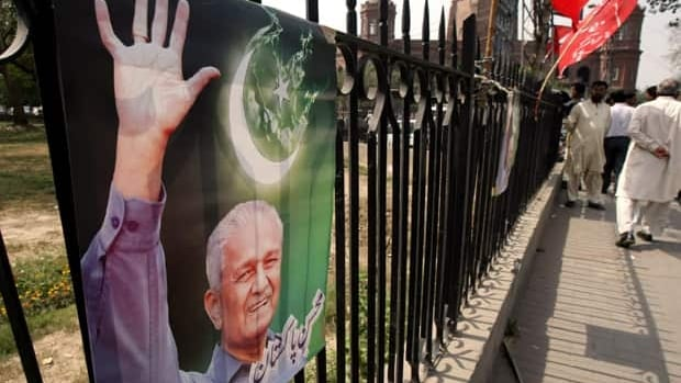 A poster in Lahore, Pakistan, in 2010 shows nuclear scientist A.Q. Khan, glorified by many of his countrymen but reviled by Western governments for his role in nuclear proliferation.