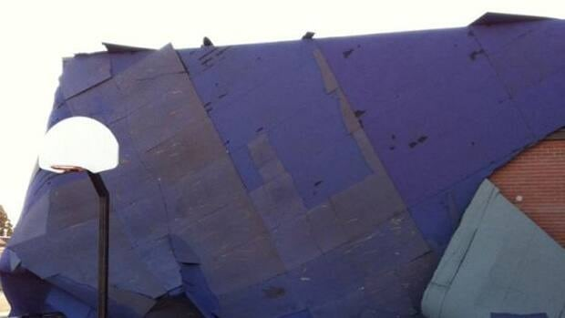 A large section of roof on the high school in Nanton, south of Calgary, was ripped off by strong winds on Wednesday.