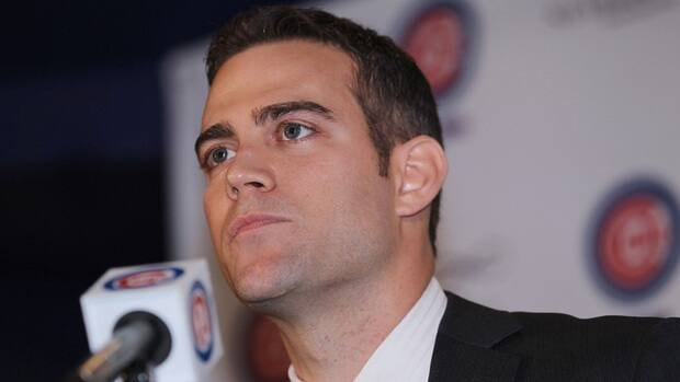 Theo Epstein, the new President of Baseball Operations for the Chicago Cubs, speaks during a press conference at Wrigley Field on October 25, 2011 in Chicago, Illinois.