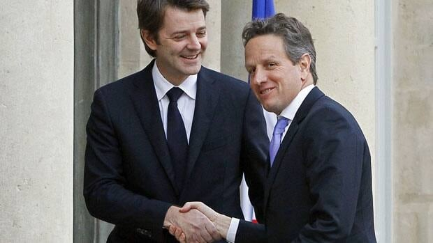 U.S. Treasury Secretary Timothy Geithner, right, meets with French Finance Minister Francois Baroin in Paris Wednesday, on the eve of a summit of European leaders Friday to discuss the region's debt crisis.