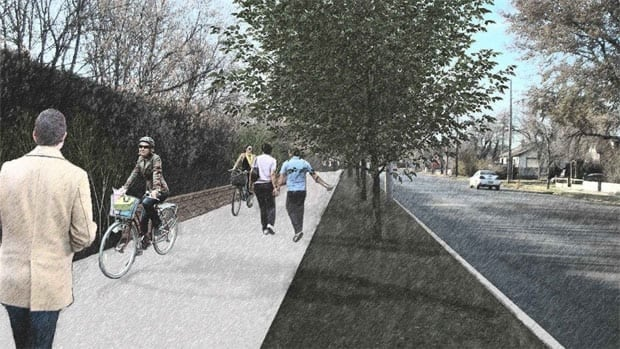 A Saskatoon city plan calls for a multi-use cycling and pedestrian corridor along the south side of 33rd street.