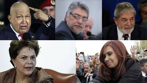 Several left-of-centre South American leaders have had cancer, including, clockwise from top left: Venezuelan President Hugo Chavez, Paraguayan President Fernando Lugo, former Brazilian president Luiz Inacio Lula da Silva, Argentine President Cristina Fernandez and current Brazilian President Dilma Rousseff.