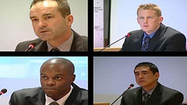 Dziekanski inquiry commissioner Thomas Braidwood said the officers (clockwise from top left) Const. Gerry Rundel, Const. Bill Bentley, Cpl. Monty Robinson and Const. Kwesi Millington deliberately misrepresented their actions during investigations of the incident.  CBC
