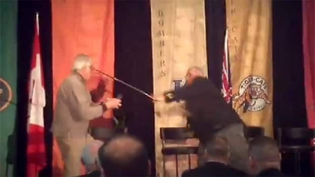 The scuffle occurred after Joe Kapp pushed a flower into Angelo Mosca's face while the two were on stage at a CFL alumni luncheon.