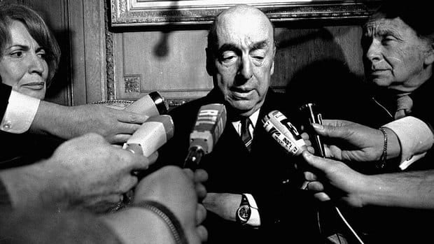 Pablo Neruda, poet and then Chilean ambassador to France, talks to reporters in Paris after winning the 1971 Nobel Prize for Literature. Chile's Communist Party is asking to exhume Neruda's remains amid allegations he may have been poisoned.