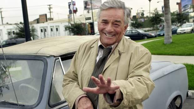 Actor Peter Falk is shown in his trademark rumpled raincoat as the eccentric Lt. Columbo on Oct. 29, 2002.