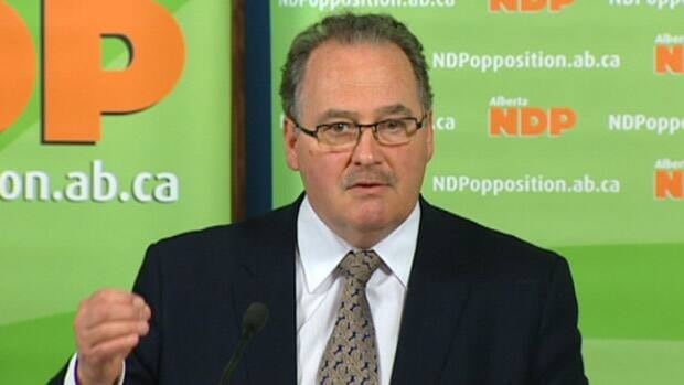 Alberta NDP Leader Brian Mason gestures Monday during a news conference in Edmonton. CBC