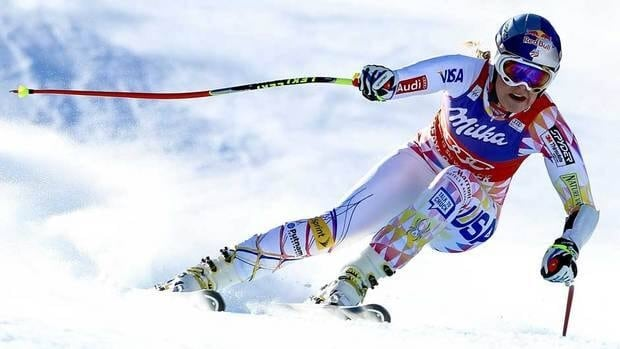 Lindsey Vonn speeds down the Birds of Prey course at Beaver Creek, Colo., en route to winning Wednesday's World Cup super-G race.