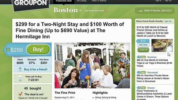 A screenshot shows the popular daily coupon deal Groupon.com website. Papers filed Thursday suggest a potential IPO value of $750 million US.