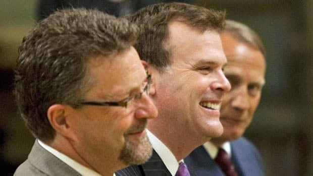 Chuck Strahl, foreground, has retired from politics, but John Baird, middle, will be back and likely kept in Prime Minister Stephen Harper's new cabinet.