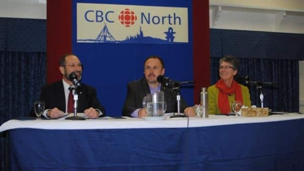 Liberal leader Arthur Mitchell, Yukon Party leader Darrell Pasloski and NDP leader Liz Hanson at the CBC Leaders' Forum.
