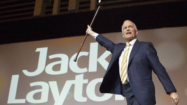 NDP Leader Jack Layton delivers a keynote speech at the party's 50th anniversary convention in Vancouver on Sunday.