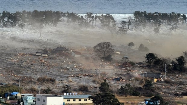 Houses in the city of Natori in northeastern Japan are swept up in the tsunami that followed Friday's 8.9-magnitude earthqauke.
