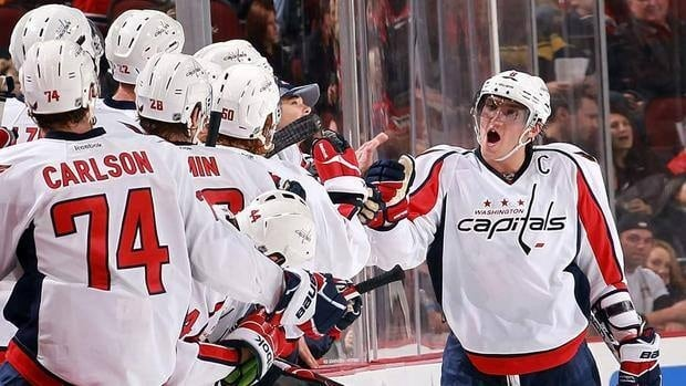 Capitals sniper Alex Ovechkin, right, gets props from the bench after his second-period goal on Friday night against the New Jersey Devils.
