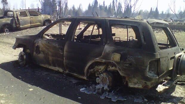 This car was burned during the wildfires that swept through Slave Lake, Alta., on May 15, 2011.