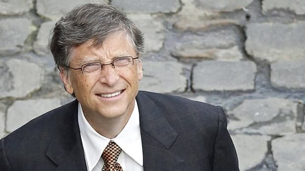 Microsoft co-founder Bill Gates, shown in Paris on April 5, is the largest shareholder in Montreal-based Canadian National Railway.
