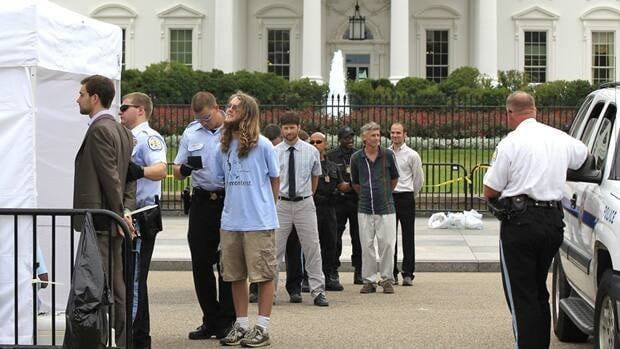 Protesters are arrested in front of the White House on Friday as part of a two-week civil disobedience campaign against the Keystone XL oil pipeline.