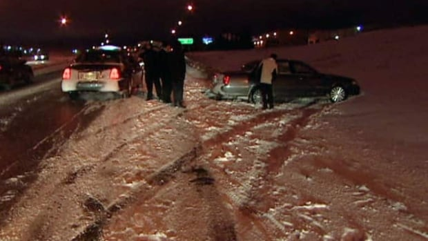 A Regina driver skidded off an icy road Thursday night.