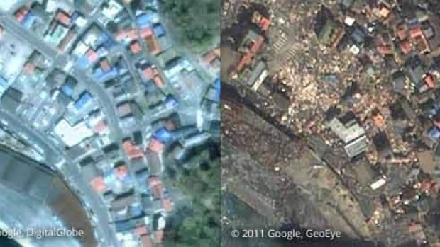 The first satellite photo comparing before and after the earthquake in Kamaishi, Iwate prefecture, Japan.