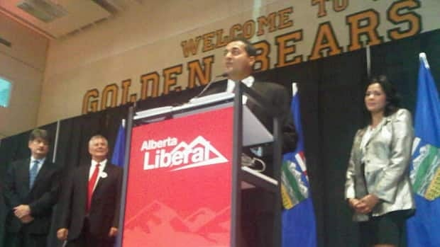 Raj Sherman delivers his leadership acceptance speech on Saturday evening in Edmonton.(CBC)