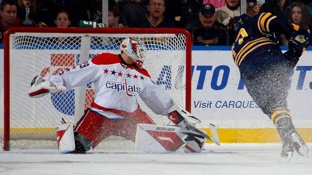 Luke Adam of the Buffalo Sabres scores a goal on Tomas Vokoun of the Washington Capitals during their NHL game at First Niagara Center on November 26, 2011 in Buffalo, New York.