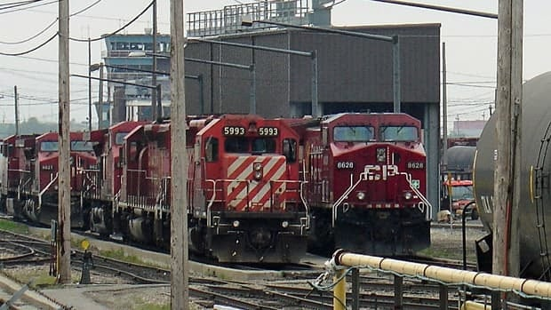 Canadian Pacific Railway engines, shown at Calgary's Alyth Yard in May. Revenue increases in the second quarter were limited by the impact of flooding on operations.