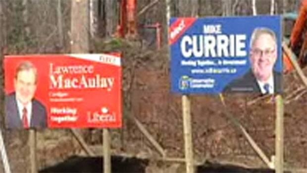 Duelling election signs in the Prince Edward Island riding of Cardigan.