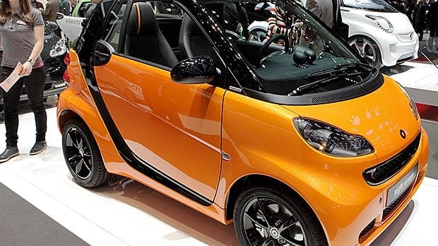 The Smart Fourtwo convertible, displayed at the 81st Geneva International Motor Show in March 2011, has a gas cost that is considerably lower than other vehicles.