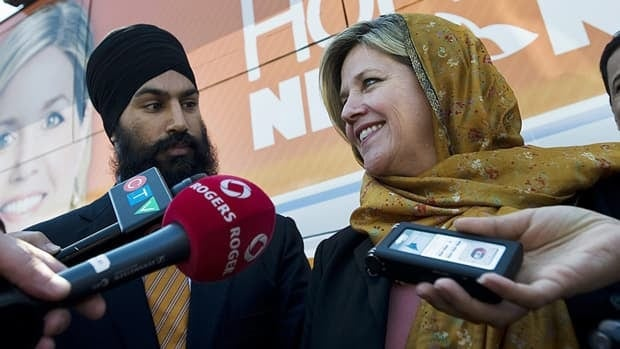 The NDP's Jagmeet Singh, left, was elected Thursday in Bramalea-Gore-Malton, after nearly winning the seat in the May 2 federal election.