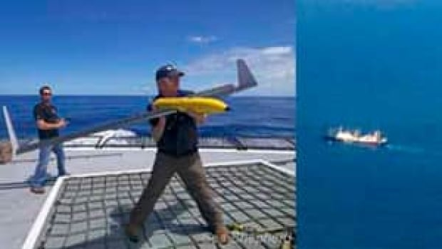 Left: Second Mate Peter Brown launches the drone from the Steve Irwin. Right: The Nisshin Maru as seen from the drone on December 24th, 2011.
