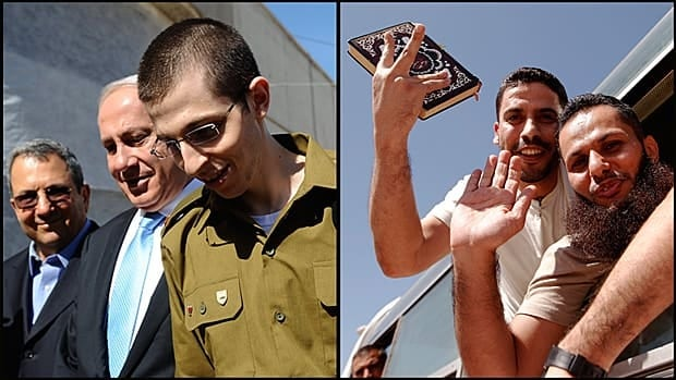 At left, released Israeli soldier Gilad Shalit is escorted by Prime Minister Benjamin Netanyahu on Tuesday upon his return to Israel via Egypt. At right, Palestinian prisoners wave from buses as they make their way through the Rafah border crossing between Egypt and Gaza.