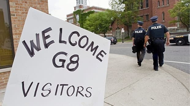 A sign welcomes visitors to Huntsville, Ont., during the G8 summit June 23, 2010. Huntsville hosted the meeting of world leaders, but wasn't the only community in the region to benefit from federal funding for local improvements.