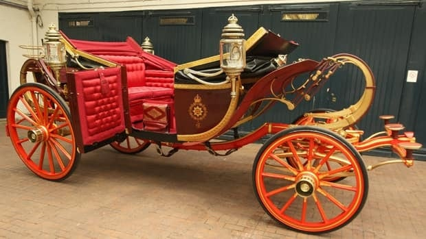 The 1902 State Landau carriage that the newlyweds will take from Westminster Abbey to Buckingham Palace after the marriage ceremony.