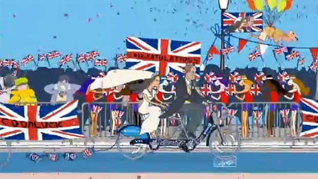 London Mayor Boris Johnson posted a cartoon on YouTube, showing the royal couple riding their new tandem Bixi.