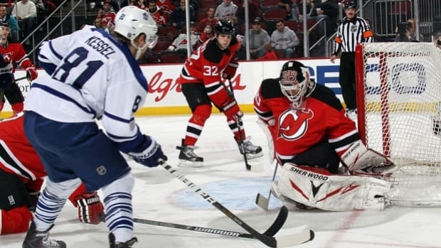 Martin Brodeur, right, is fully recovered from a bruised shoulder and might start Wednesday versus the visiting Maple Leafs.