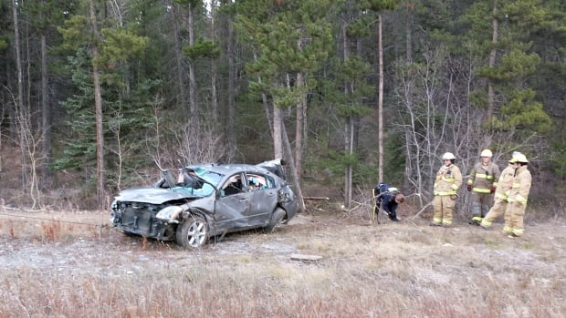A woman was hospitalized in this one-car accident in Whitehorse Sunday.