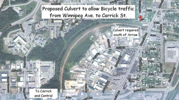 A route on the old rail bed that went to the harbour front over Memorial Avenue, as pictured on the map above, would allow bicycle traffic from the Community Auditorium on Winnipeg Avenue to Downtown VW at Central and Carrick, bypassing Memorial Avenue.