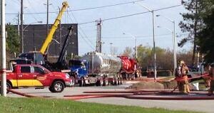 Tanker truck overturns in Burlington