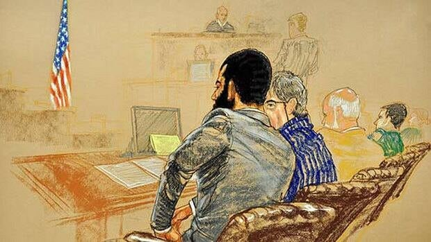 Omar Khadr attends the jury selection hearing for his trial at a U.S. military courtroom in Guantanamo Bay, Cuba, on Aug. 11, 2010.