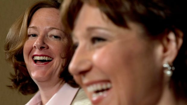 """Alberta Premier Alison Redford, left, and British Columbia Premier Christy Clark demonstrated in June that they had repaired a """"frosty"""" relationship that developed over a clash in ideas about oil-export royalties. The premiers now say they have created a working group to collaborate on policy and address federal gaps on energy issues."""