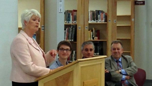 Education minister Liz Sandals announces details of the province's Youth Jobs Strategy, as Grade 12 student Logan Turner, MPPs Bill Mauro and Michael Gravelle look on.