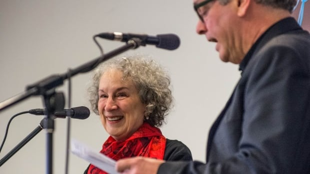 Margaret Atwood in conversation with Terry MacLeod at McNally Robinson Booksellers in Winnipeg.
