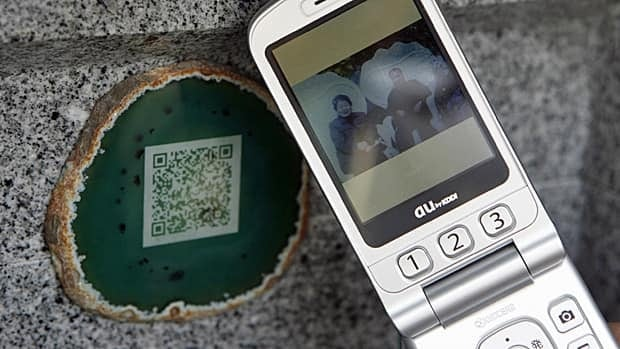 This photograph of a couple can be obtained by scanning the QR code shown with a phone.