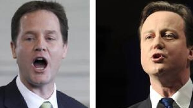 Newly minted British PM David Cameron, right, has entered a coalition with the Liberal Democrats under Nick Clegg, who becomes deputy PM.