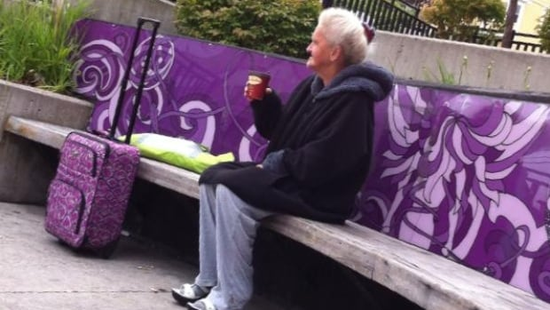 Stephen Pittman posted his photo of Marilyn Hiscock, taken in downtown St. John's on a chilly morning last month, to a Facebook group in her memory.  Pittman said he bought her a coffee when he noticed her sitting alone.