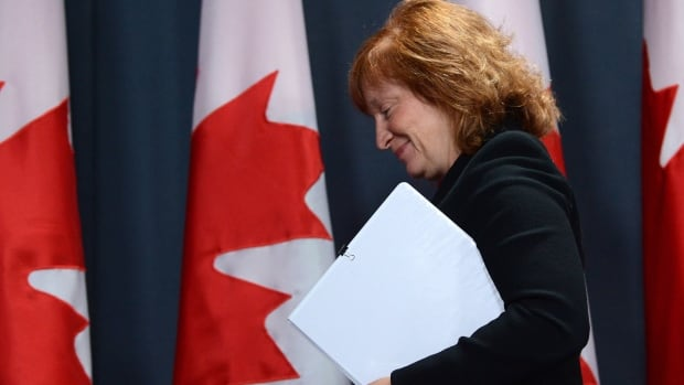 Suzanne Legault, Canada's Information Commissioner, leaves a press conference in Ottawa following the tabling of her annual report, which found serious 'deterioration' in the access to information system.