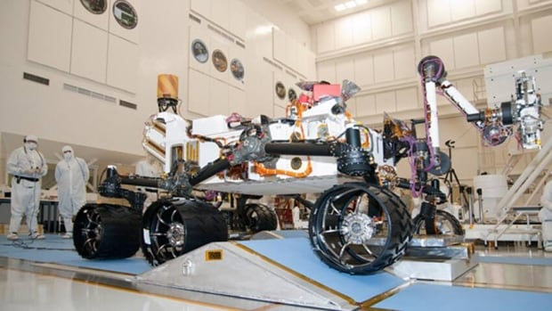 The APXS (alpha ray X-ray spectrometer) will be carried aboard NASA's Mars Science Laboratory rover Curiosity, shown here undergoing tests at NASA's Jet Propulsion Laboratory in Pasadena, Calif., in mid-September.